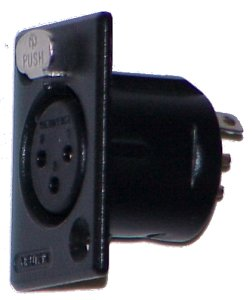 Neutrik NC3FP-1B Female XLR Panel-Mount, Black