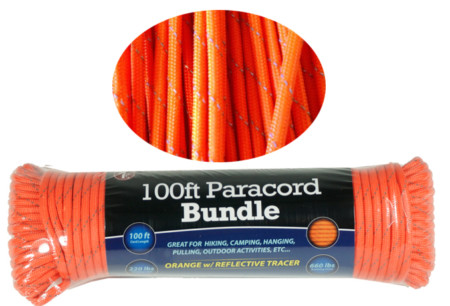 Sona 100ft. Paracord 7 Strand Orange 5:32 Inch Reflective