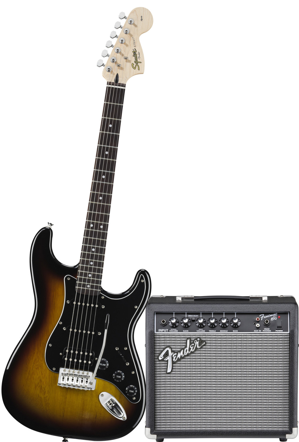 fender squier hss stratocaster brown sunburst frontman 15g pack pro music. Black Bedroom Furniture Sets. Home Design Ideas