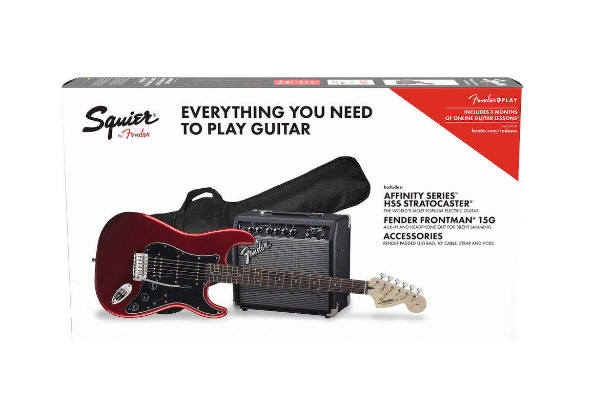 fender squier affinity strat pack candy apple red hss with 15g combo amp and gigbag pro music. Black Bedroom Furniture Sets. Home Design Ideas